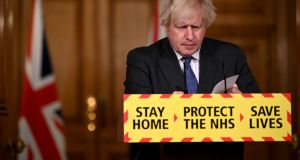 British prime minister Boris Johnson attends a coronavirus press conference at 10 Downing Street on January 22nd, 2021 in London, England. Photograph: Leon Neal/Getty Images