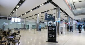 An almost empty arrivals hall in Terminal 2 at Dublin Airport last weekend. Photograph: Brian Lawless/PA Wire