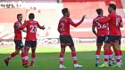 Southampton's players celebrate after Arsenal's Brazilian defender Gabriel scored an own goal at St Mary's Stadium. Photograph: Getty Images