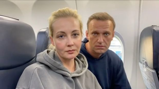 Alexei Navalny and Yulia Navalnaya before their flight at the Berlin Brandenburg International Airport BER in Schoenefeld, Germany on January 17th. Photograph: Alexi Navalnaya Instagram/EPA