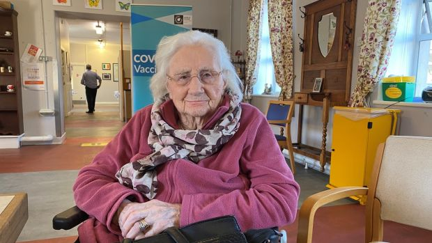 Nora Gray (101), who received the Covid-19 vaccine in St Camillus' Community Hospital, Co Limerick. Photograph: Jack Power