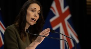 New Zealand's prime minister Jacinda Ardern said her Australian counterpart, Scott Morrison, informed her of the move to suspect the travel bubble on Monday. Photograph: Marty Melville/ AFP/ Getty