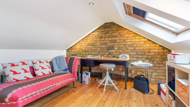 Converted attic used as an office