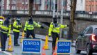 A Garda checkpoint on Usher's Quay in Dublin city centre. Photograph: Collins