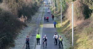 Members of the Shannonside Cycle Club on the Athlone Cycle Greenway. Photograph: Alan Betson