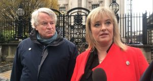 Northern Ireland Human Rights Chief Commissioner Les Allamby and Máiría Cahill outside the High Court in Belfast. File photograph: Cate McCurry/PA Wire