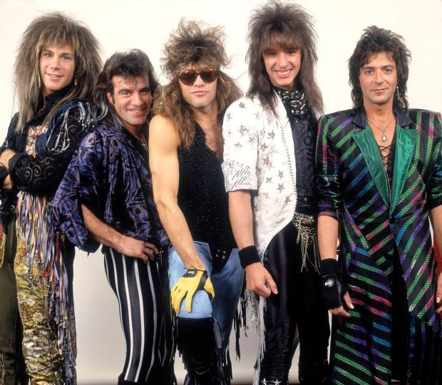 Portrait of American rock band Bon Jovi backstage before a performance, Illinois, early March, 1987. Pictured are, from left, David Bryan, Tico Torres, Jon Bon Jovi, Richie Sambora, and Alec John Such. Photograph: Paul Natkin/Getty Images