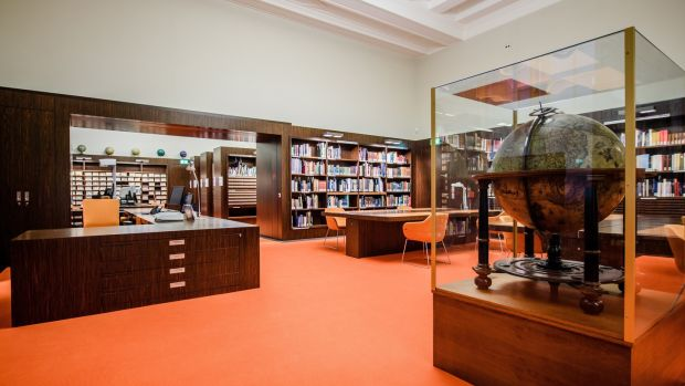 The map reading room inside the newly reopened Berlin State Library. Photograph: Clemens Bilan/EPA
