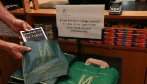 Covid restrictions: social distancing at Hodges Figgis bookshop in Dublin last May. Photograph: Laura Hutton