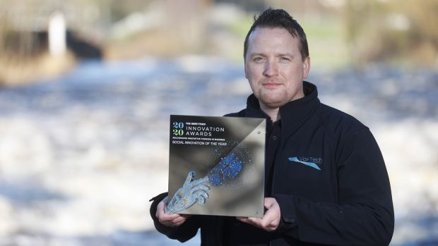 Sean Mulligan, VorTech Water Solutions, took the top prize in the sustainability category for its solution to energy wastage in the water treatment industry. Photograph: Conor McCabe