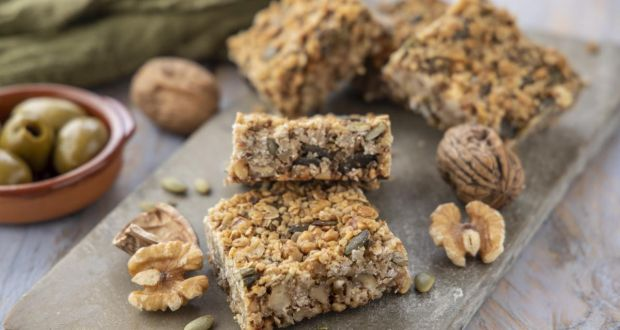 Green olive and walnut flapjacks. Photograph: Harry Weir Photography