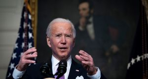 US president Joe Biden: The next four years hinge on which is the truer Biden – the bold manifesto or the emollient tone. Photograph: Doug Mills/The New York Times