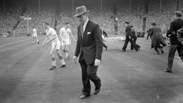 Manchester United manager Matt Busby at Wembley Stadium after Manchester United's FA Cup Final defeat to Aston Villa on May 4th, 1957. Photograph: Charman & Ley/Mirrorpix/Getty Images