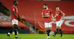 Manchester United's Bruno Fernandes struggled in his team's 2-1 defeat. Photograph: PA