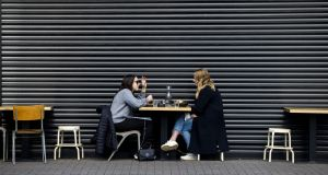 People eating outdoors in Phibsborough,Dublin. Photograph: Tom Honan/ The Irish Times