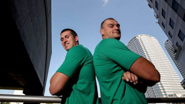 Ireland strength and conditioning coach Ciarán Ruddock and Ireland Rugby player Rhys Ruddock in Tokyo during the 2019 Rugby World Cup. Photograph: Dan Sheridan/Inpho