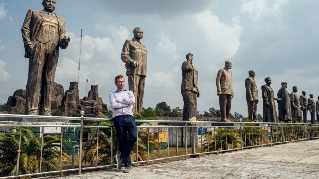 Ari Nagel, a math professor who donates exclusively and directly online, in Hero's Square in Owerri, Nigeria, on a trip to donate sperm. Photograph: KC Nwakalor/The New York Times