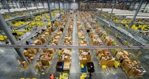 "An Amazon ""fulfilment centre"" in Hempstead, England. Photograph:  Jeff Spicer/Getty Images"