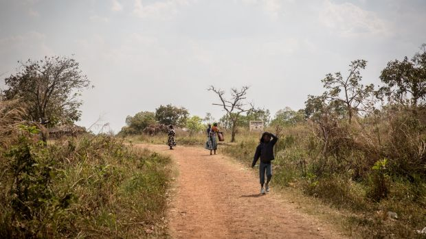 A boy walks home following the screening of the ICC verdict, in Dominic Ongwen's home village of Coorom, northern Uganda. Photograph: Sally Hayden.
