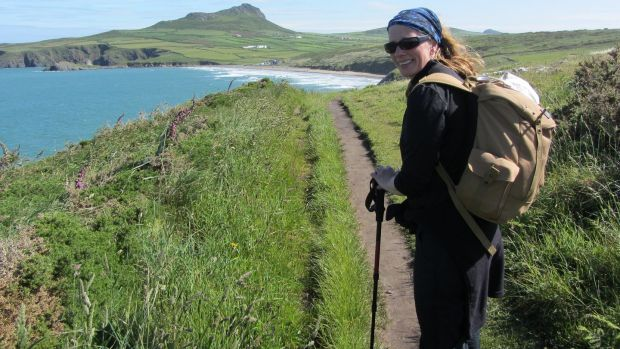 Catherine Mack on the West Wales Coast path (pre-Covid). Photograph: Catherine Mack