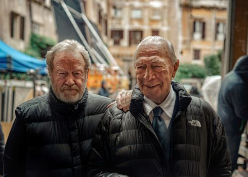 Plummer (right) with the director Ridley Scott on the set of the film All the Money in the World in Rome on November 29th, 2017. Photograph:Tom Jamieson/The New York Times