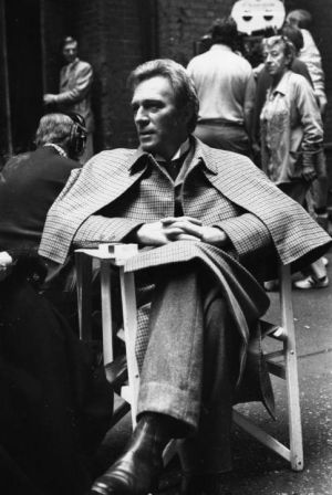 Plummer in costume as Sherlock Holmes on the set of Murder by Decree in Clink Street, London on July 29th, 1978. Photograph: Keystone/Getty Images