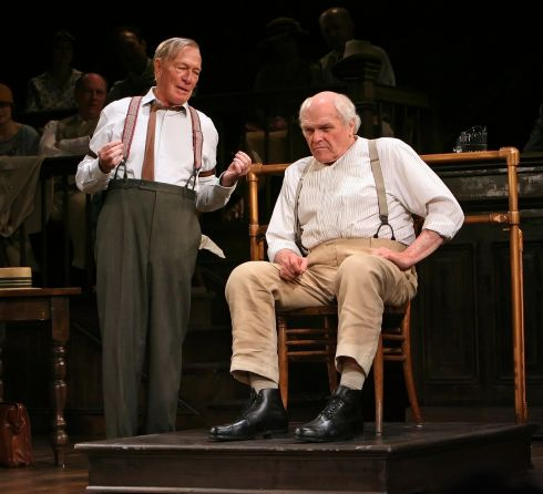 Plummer (left) as Henry Drummond, with Brian Dennehy as Matthew Harrison Brady in a scene from the play Inherit the Wind at Boradway's Lyceum Theater in New York on March 21st, 2007. Photograph: Sara Krulwich/The New York Times