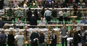 Counting of votes the 2020 general election at the RDS. Photograph: Damien Eagers