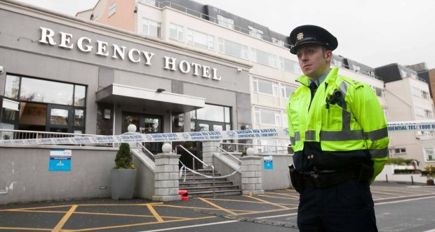 A garda at the scene of the fatal shooting of                   David Byrne (34) from Raleigh Square, Crumlin at the                   Regency Hotel in Dublin in 2016. Photograph: Gareth                   Chaney/ Collins