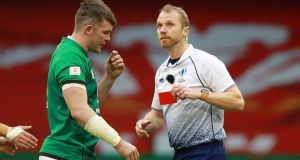 Referee Wayne Barnes shows Ireland flanker Peter O'Mahony a red card during the Six nations game against Wales at the Principality Stadium  in Cardiff. Photograph: David Rogers/Getty Images