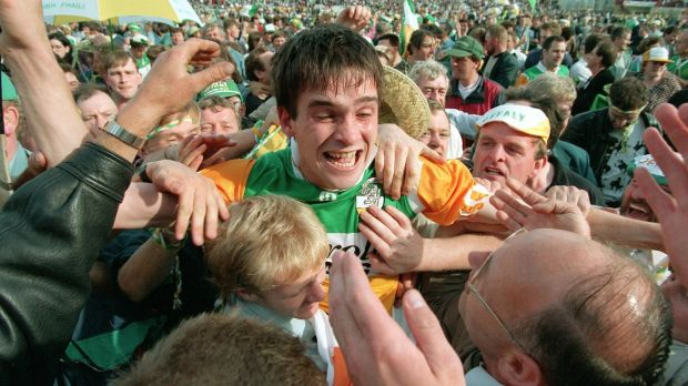 Johnny Pilkington celebrates with Offaly fans after the 1994 All-Ireland final win. Photograph: James Meehan/Inpho