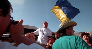 Clare manager Ger Loughnane celebrates with fans after the victory over Galway in the 1995 All-Ireland hurling semi-final. Photograph: Lorraine O'Sullivan/Inpho
