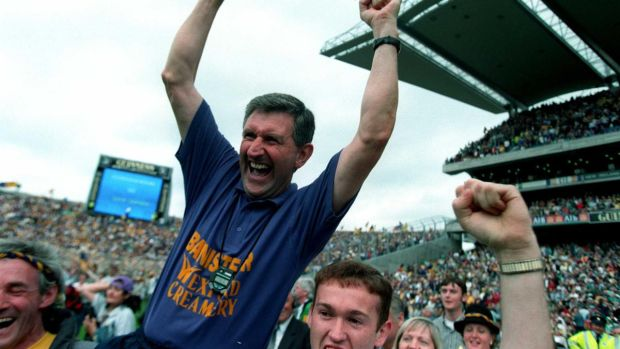 Wexford manager Liam Griffin celebrates the All-Ireland win in 1996. Photograph: Billy Stickland/Inpho
