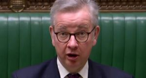 "Michael Gove: ""There are disruptions and difficulties faced by Northern Ireland citizens in their daily lives that need to be resolved. They can be resolved within the context of the protocol."" Photograph: PRU/AFP via Getty Images"