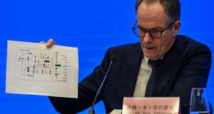 Peter Ben Embarek, head of the WHO mission to Wuhan, at a press conference on Tuesday. Photograph: Hector Retamal/AFP via Getty Images
