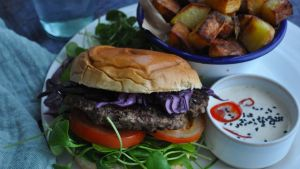 Smash burgers with home fries and kimchi mayonnaise