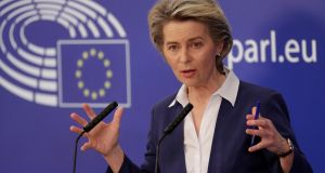 European Commission President Ursula von der Leyen is to take questions from member states over the Article 16 triggering. File photograph: Olivier Hoslet/EPA