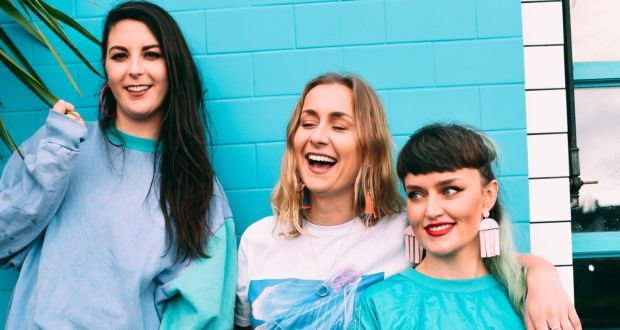 Saoirse Duane, Karen Cowley and Caoimhe Barry of Wyvern Lingo are gearing up for the release of their second album, Awake You Lie. Photograph: Miguel Ruiz
