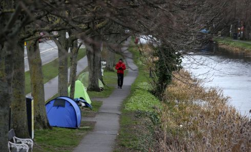 COLD CONDITIONS: Tents pitched by the Grand Canal in Dublin amid freezing conditions. Photograph: Laura Hutton