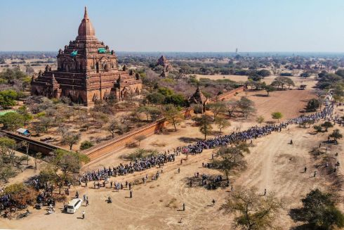 MYANMAR PROTESTS:  Protesters taking part in a demonstration against the Myanmar military coup in Bagan, a Unesco World Heritage Site. Photograph: STR/AFP/Getty