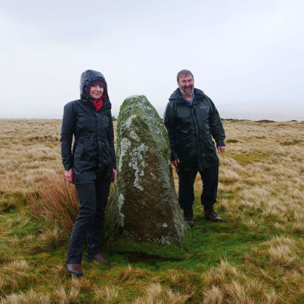 Waun Mawn: Alice Roberts with Mike Parker Pearson at one of the remaining stones. Photograph: Barney Rowe/BBC
