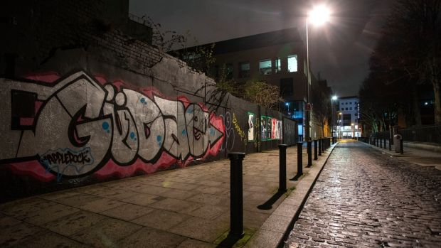 Graffiti on Foley Street in Dublin's north inner city. A recent report found almost a quarter of people living in the area had experienced drug-related intimidation. Photograph: Crispin Rodwell