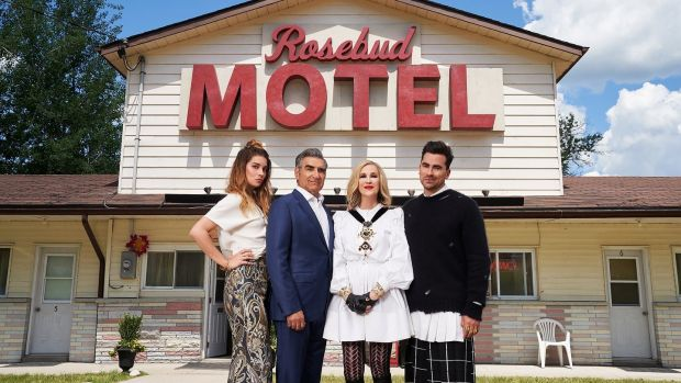 Annie Murphy, Eugene Levy, Catherine O'Hara and Dan Levy in Schitt's Creek