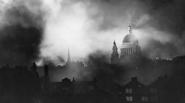 The famous image of St Paul's Cathedral as seen through the flames and smoke of blazing buildings in London during the Blitz. Photograph: Keystone/Getty Images