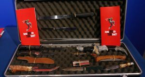 A selection of knives confiscated by An Garda Síochána and put on display in Dublin. Photograph: Niall Carson/PA