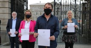 The Dying with Dignity group – Tom Curran, Vicky Phelan, Gino Kenny TD and Gail O'Rorke – campaigning outside Leinster House in September 2020.  Photograph: Nick Bradshaw/The Irish Times