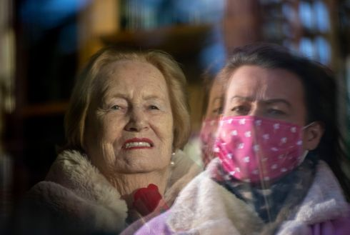 WINDOW VISIT: Marymount Care Centre resident Joan Byrne has a window visit from her daughter Debi Nevin in Lucan on Sunday. Photograph: Tom Honan/The Irish Times