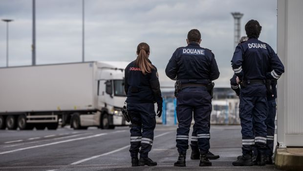 Customs officers at Cherbourg.