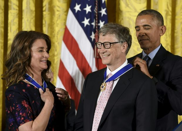 President Obama presents Bill and Melinda Gates with Presidential Medals of Freedom in 2016. Photograph: Saul Loeb/AFP via Getty