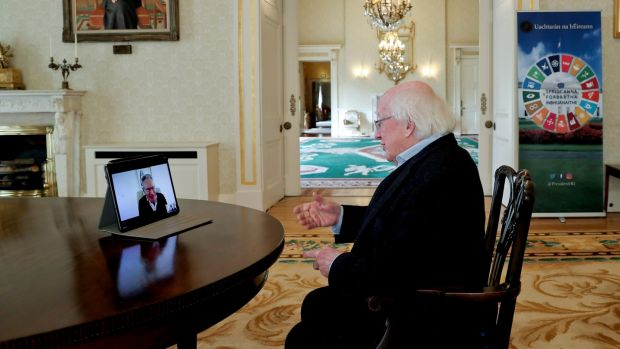 President Michael D Higgins being interviewed remotely by Fintan O'Toole at Áras an Uachtaráin. Photograph: Maxwell